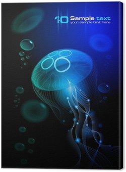 Meduza na czarnym tle. Ilustracji wektorowych EPS 10