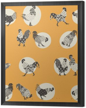 seamless texture with roosters, ornaments handmade rooster - a symbol of 2017