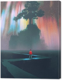 man begin a journey on winding road to the big tree against the night sky,illustration