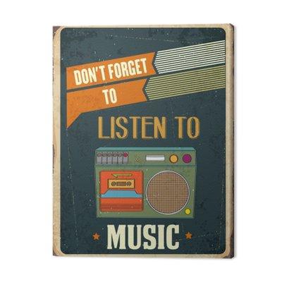 "Retro metal sign "" Listen music"""
