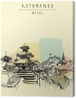 Durbar square. Hindu temples in Basantapur, Kathmandu, Nepal, before earthquake. Travel sketch. Hand drawing. Vintage touristic postcard, poster, book illustration in vector