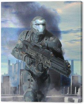 Futurystyczny pancerz żołnierza na wojnie