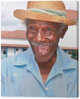 Stary człowiek sympatyczny kubańska słomkowym kapeluszu zrobić śmieszną twarz, Kuba