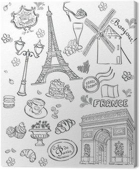 Różne atrakcje, Paryż, Francja. czarny kontur