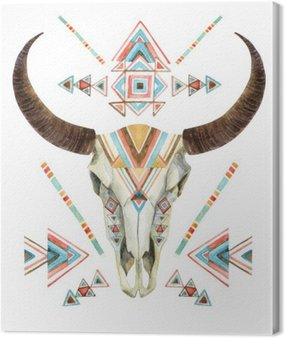Cow skull in tribal style. Animal skull with ethnic ornament