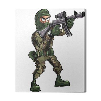 Cartoon żołnierz z pistoletem i kominiarka