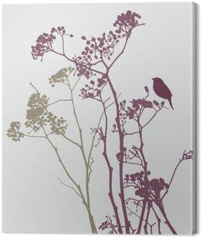bird on meadow flowers