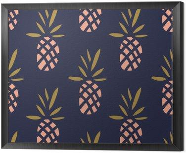 Ananasy na ciemnym tle. Wektor bez szwu z owoców tropikalnych.