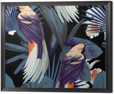 Ptaki, orchidee i noc dżungli bezszwowe tło