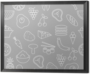 Thin line icons seamless pattern. Food, vegetables and fruits icon grey background for websites, apps, presentations, cards, templates or blogs.