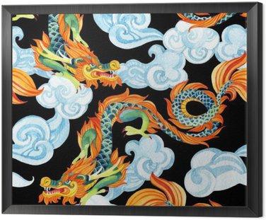 Chiński smok szwu. Asian Dragon ilustracji