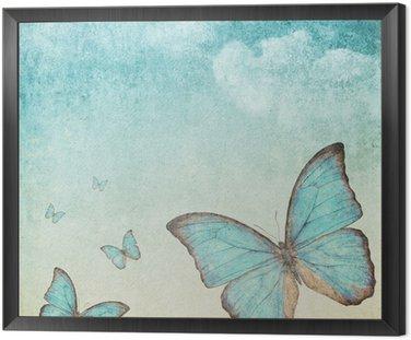 Archiwalne tła z niebieskim motylem