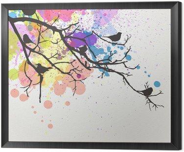 Wektor oddział z ptaków na tle abstrakcyjna