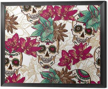 Czaszki, serca i kwiatów Jednolite Tło