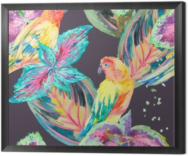 Watercolor Parrots .Tropical flower and leaves.