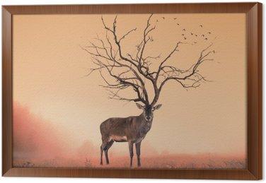 Koncepcyjne jelenia Jeleń, suche drzewo w jelenia