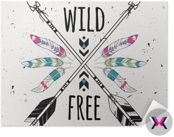 Wektor ilustracja ze skrzyżowanymi strzałkami etnicznych, piór i plemiennych ozdoba. Boho i styl hippie. Amerykańskie motywy Indyjskim. Wild and Free plakatu.