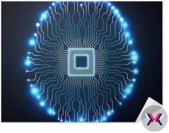 Neon mózgu. Procesor. Płytka drukowana. Streszczenie technologii tle. ilustracji wektorowych. ePS 10