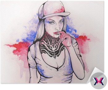 girl in a cap and tattoos