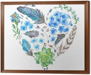 Boho Style Watercolor Heart Shape