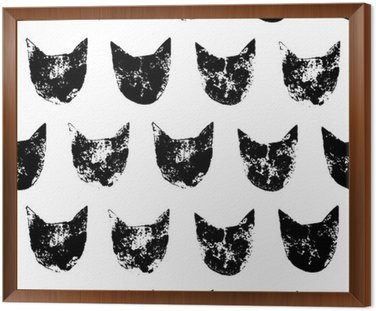 Cat head grunge prints seamless pattern in black and white, vector