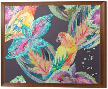 Akwarela Papugi .Tropical kwiatów i liści.