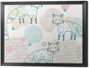 Vector drawn seamless geometric pattern with fox