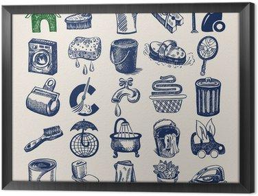 25 strony rysunku ikony ustaw, czyszczenie i higieny pracy