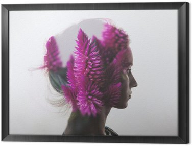 Creative double exposure with portrait of young girl and flowers