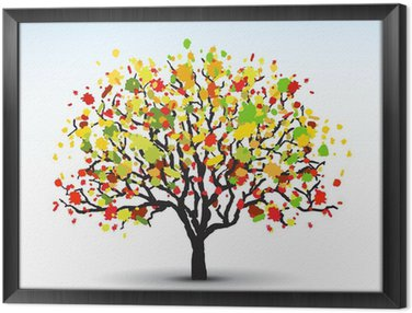 stylized tree with autumn leaves, vector image