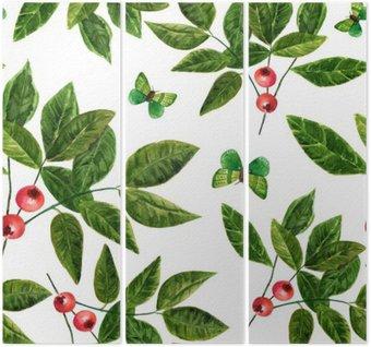 Jednolite tło wzór z liści akwarela, jagody i motyli