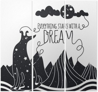 Śliczne romantyczna ilustracji wektorowych z psem patrząc na Księżyc. Wszystko zaczyna się od marzeń. Gwiazdy, góry i chmury.