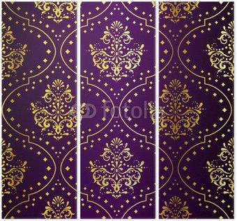 Zawiły złoto na fioletowy bez szwu wzór sari