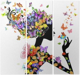 Dziewczyna mody kwiaty z motyli