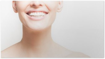 Woman smiling, white background, copyspace.