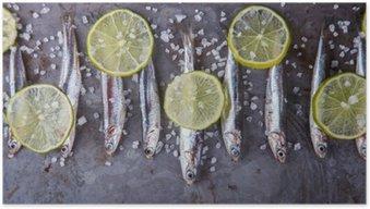 Anchois Fresh Marine Fish.Appetizer. selektywnej ostrości.