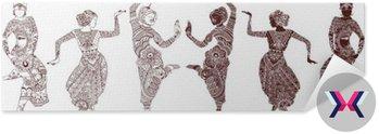 Tancerze indyjskich ustawić ręcznie rysowane stylu mehendi