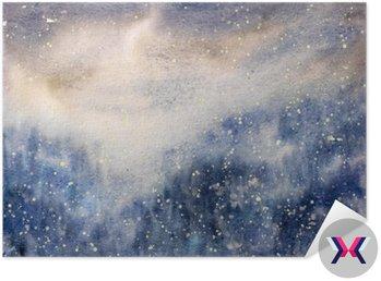 Malowane Streszczenie tekstury śnieżna zamieć zima akwarela.