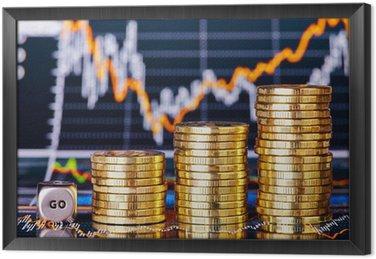 Monet stosy trendzie wzrostowym, kostka kostka z napisem GO na financí