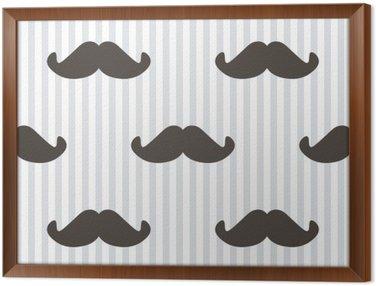 Płaska konstrukcja, Wektor hipster wąsy i paski bezszwowe tło wzór.