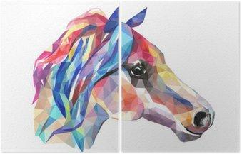 Głowa konia, mozaiki. Trendy w stylu geometrycznej na białym tle.