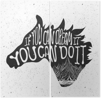 Typografia plakat z głową konia sylweta i gór