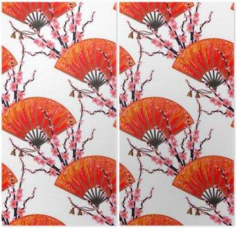 Jednolite wzór z wentylatorem Japonia japoński i Sakura Cherry Blossom wektora tle. Idealne do tapety, wzór wypełnienia tła strony internetowej, na powierzchni tekstury, tekstylia