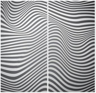 Czarno-białe zakrzywione linie, fale powierzchniowe, vector design