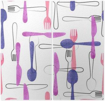 Akwarela sztućce szwu w różowe i fioletowe kolory. Wektor tła z łyżki, widelce i noże.