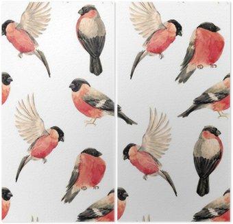 Akwarela gil ptak wzór