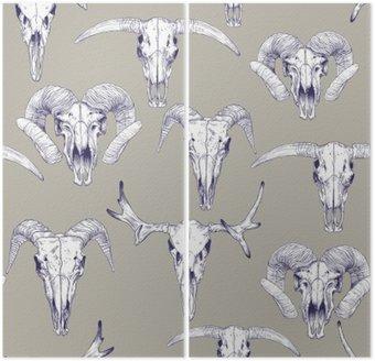 Szwu z czaszek jelenia, byka, kóz i owiec. Rysowanie linii czaszki. Mistyczne tło dla swojego projektu.