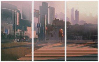 Samotna kobieta, stojąca na przejściu dla pieszych w miastach, ilustracja malarstwo