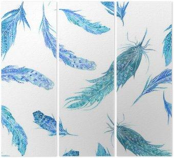 Akwarela Turquoise Feather Wzór