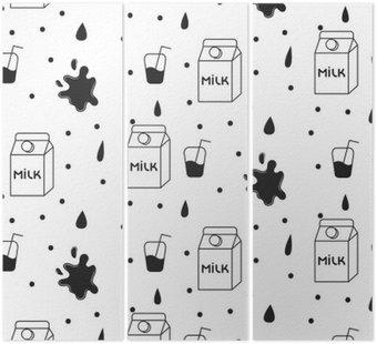 Mleko i ciasteczka bez szwu wektor wzorca. Dairy fun czarno-biały wzór z kartonie mleka i mleka powitalny spada na białym tle.